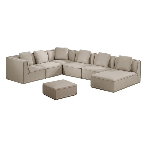 Roanoke Classic Beige Upholstered 5 Piece Modular Sectional Sofa Regarding Roanoke Va Sectional Sofas (View 7 of 10)