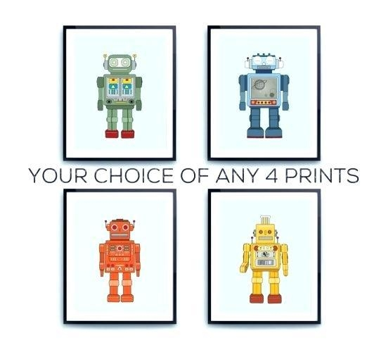 Robot Wall Art Robot Friends Nursery Wall Art Decor Boys Kids Diy Inside Robot Canvas Wall Art (Image 15 of 20)