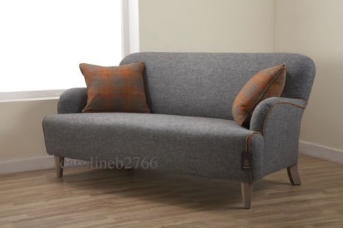 Roche Bobois Cardamone Harris Tweed Grey Fabric Sofa | Home Throughout Tweed Fabric Sofas (Image 5 of 10)
