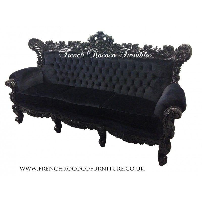 Rococo Sofa Black 3 Seater   Gothic Furniture   Pinterest   Rococo For Gothic Sofas (Image 8 of 10)