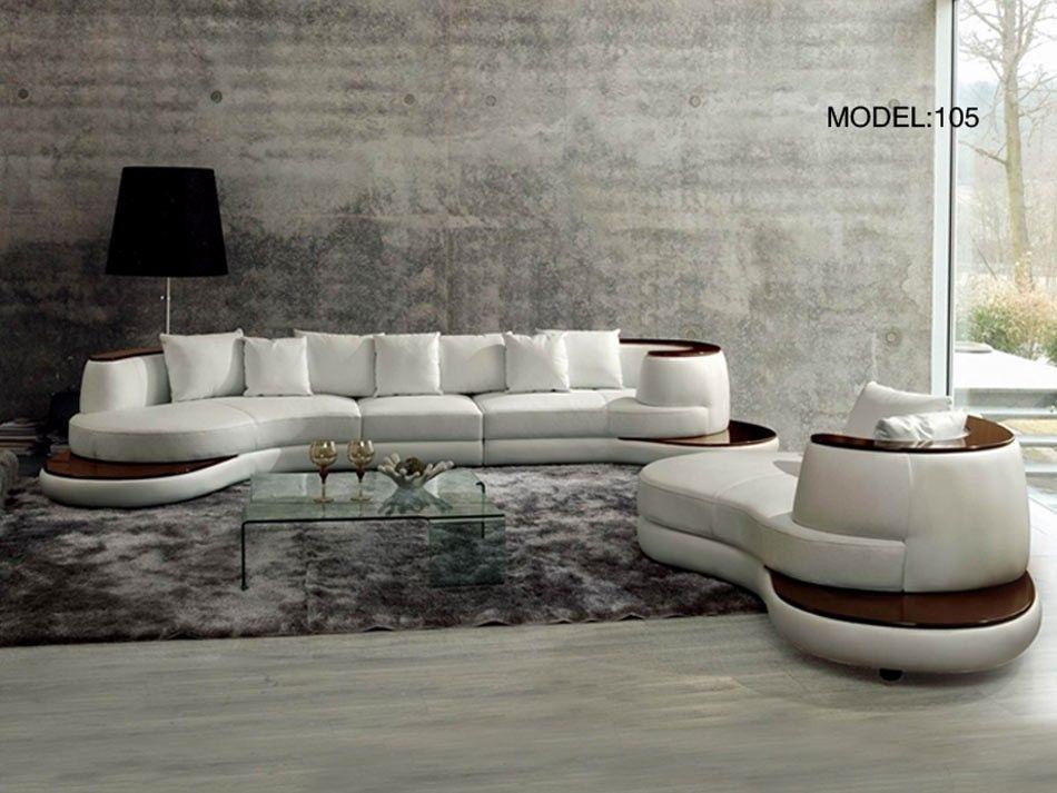 Rodus Rounded Corner Italian Leather Sectional Sofa With High Gloss In Rounded Corner Sectional Sofas (Image 6 of 10)