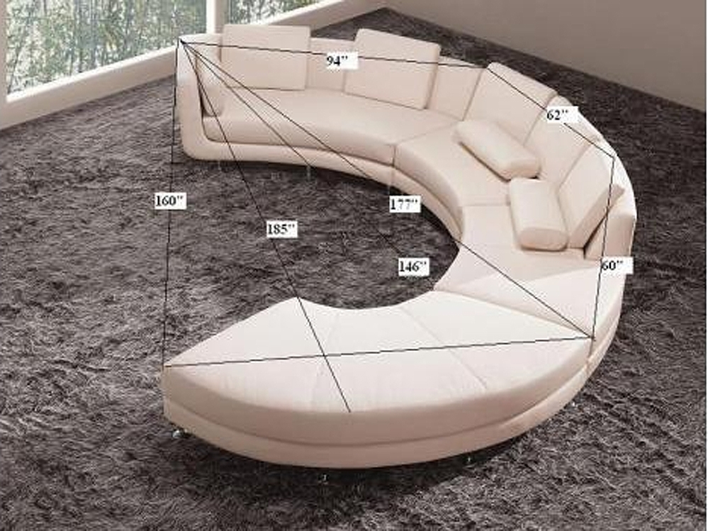 Roller Espresso Leather Sectional Round Sofa | Sectionals Within Round Sofas (Image 5 of 10)