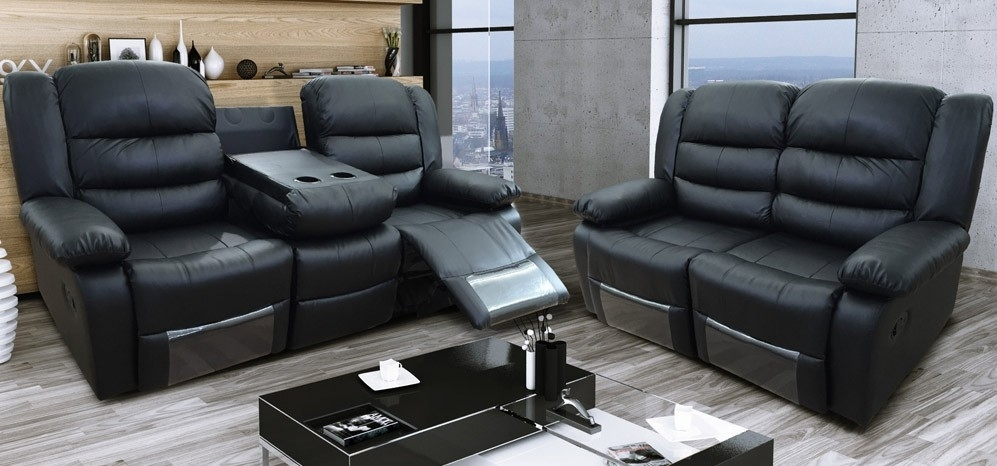 Roma Recliner 3 + 2 Seater Bonded Leather Black Within 2 Seater Recliner Leather Sofas (View 3 of 10)