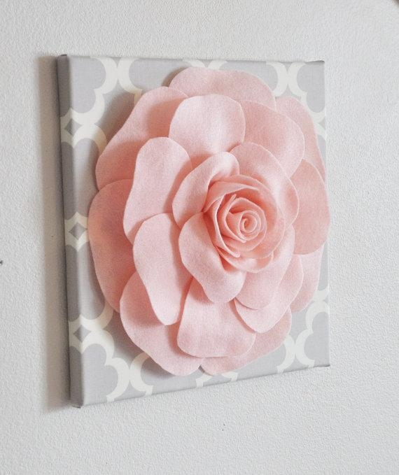 Rose Wall Hanging Light Pink Rose On Neutral Gray Tarika 12 With Roses Canvas Wall Art (View 16 of 20)