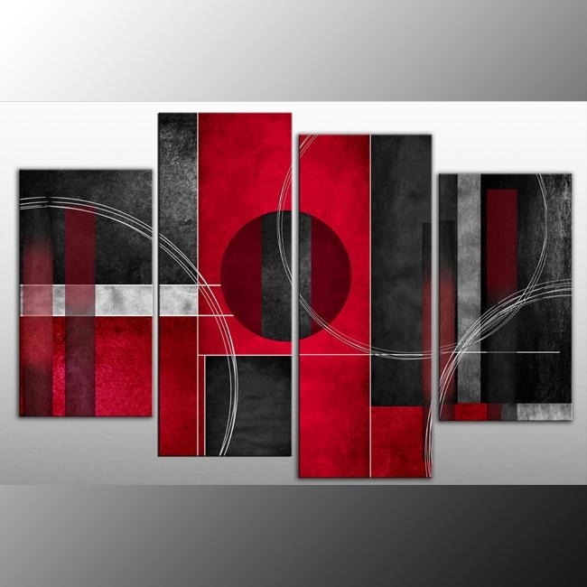 Rosso Nero Abstract Canvas Wall Art Print 4 Panel Black Red Grey For Grey Abstract Canvas Wall Art (View 3 of 20)