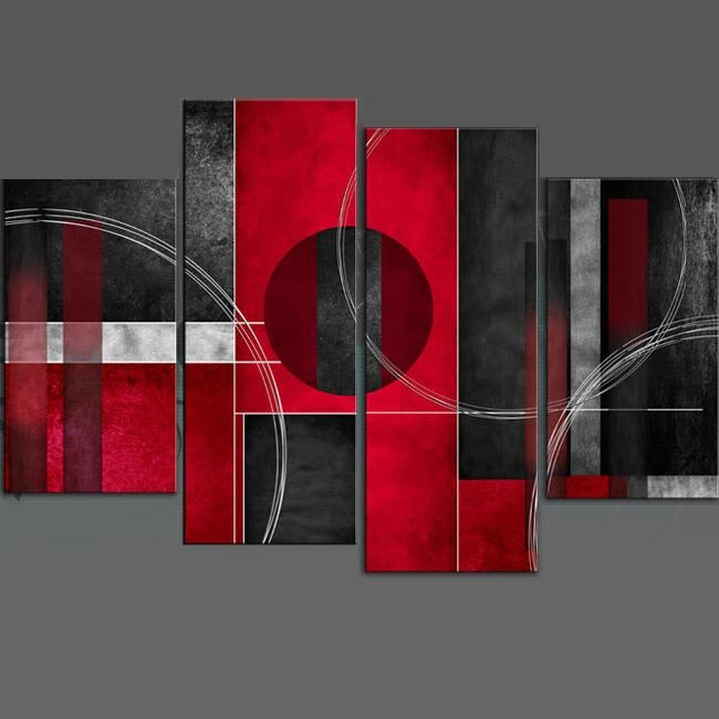 Rosso Nero Abstract Canvas Wall Art Print 4 Panel Black Red Grey In Grey Abstract Canvas Wall Art (View 16 of 20)
