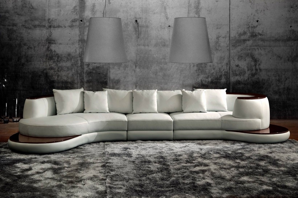 Rounded Corner Italian Leather Sectional Sofa With High Gloss Trim For Rounded Corner Sectional Sofas (Image 7 of 10)
