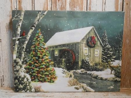 Rustic Country Watermill Christmas Lighted Canvas Art Pertaining To Lighted Canvas Wall Art (View 9 of 20)