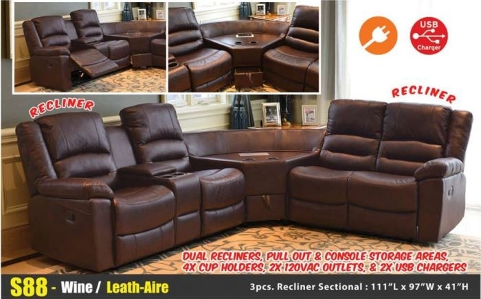 S88 Wine Leather Aire Reclining Sectional Sofa Set Center Console Usb Intended For Sectional Sofas With Consoles (Image 10 of 10)