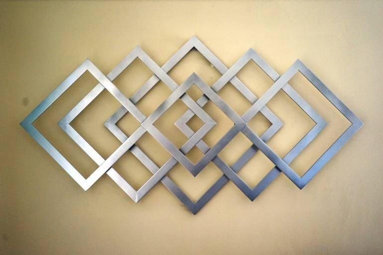 Featured Image of Abstract Geometric Metal Wall Art