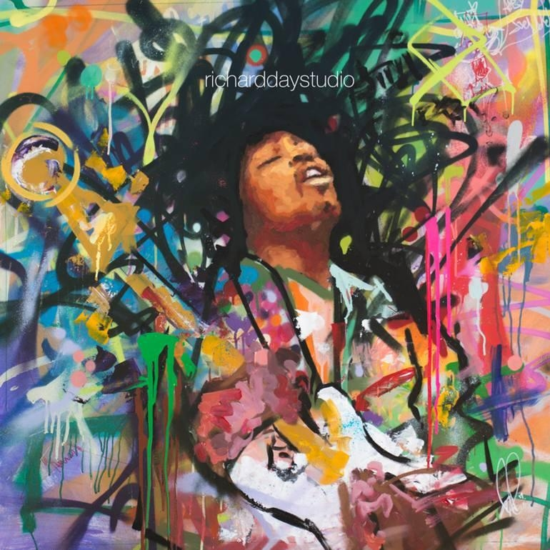 "Saatchi Art: Jimi Hendrix, Original Painting, 40"", Art, Music Intended For Graffiti Canvas Wall Art (Image 15 of 20)"