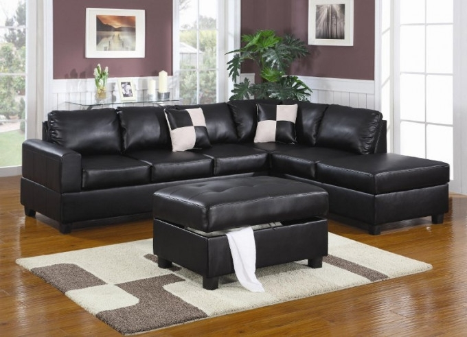 Sacramento Black Leather Sectional Sofa With Left Facing Chaise At Pertaining To Sacramento Sectional Sofas (Image 5 of 10)