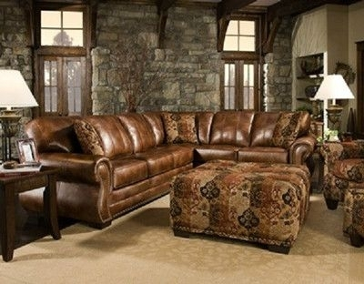 Saddle Sectional With Studs, Two Piece Sectional, Rustic, Western Within Ivan Smith Sectional Sofas (View 9 of 10)