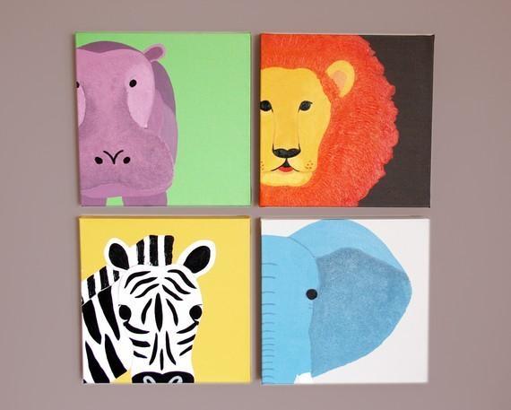 Safari Animal Canvas Wall Art For Nursery (Image 15 of 20)
