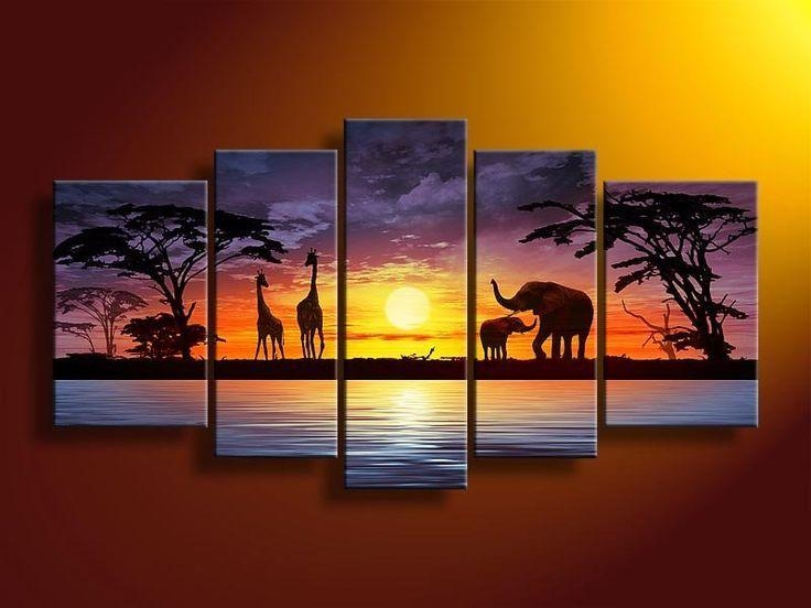 Safari Home Decor | Safari Painting | Safari Living Room Intended For Oil Paintings Canvas Wall Art (View 14 of 20)