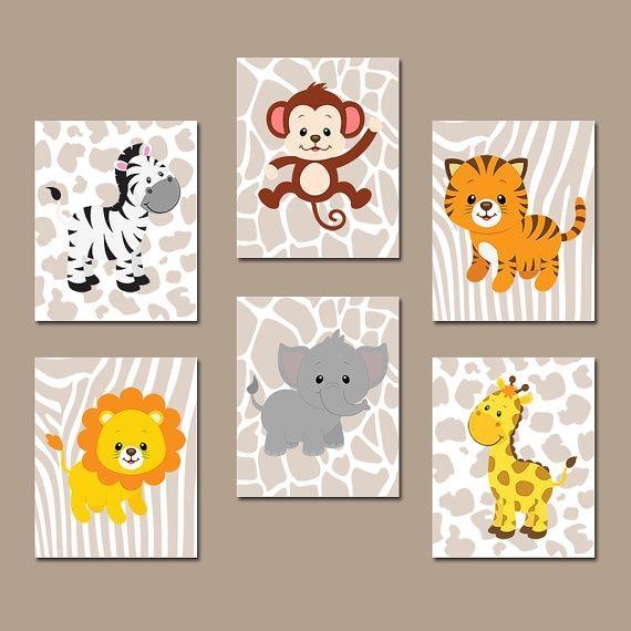 Safari Jungle Animals Wall Art Jungle Animals Nursery Decor With Safari Canvas Wall Art (Image 17 of 20)
