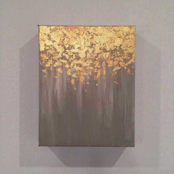 Sale Gold Leaf Painting, Abstract Gold Leaf Painting, 8X10 Wall Within Abstract Leaves Wall Art (View 10 of 20)