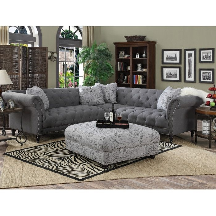 Sally 102'' Tufted Sectional Sofa & Reviews | Joss & Main | For The Inside Joss And Main Sectional Sofas (Image 10 of 10)