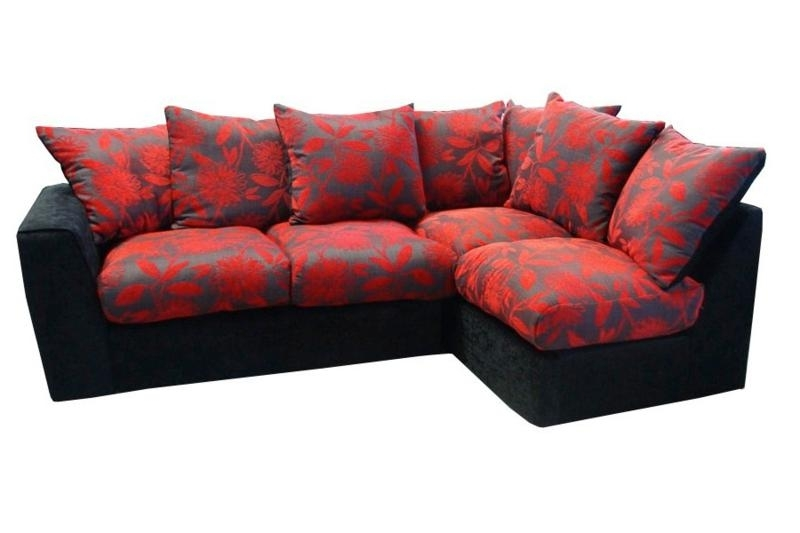 Samantha Black And Red Right Hand Corner Sofa £389, Beds Direct Within Red And Black Sofas (Image 9 of 10)