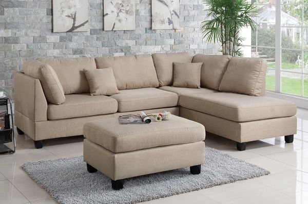 Sand Colored Sectional & Ottoman (Furniture) In Visalia, Ca – Offerup Throughout Visalia Ca Sectional Sofas (Image 4 of 10)