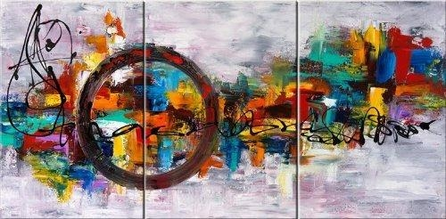 Santin Art Circle Of Magic Modern Canvas Art Wall Decor Abstract Within Abstract Oil Painting Wall Art (Image 15 of 20)