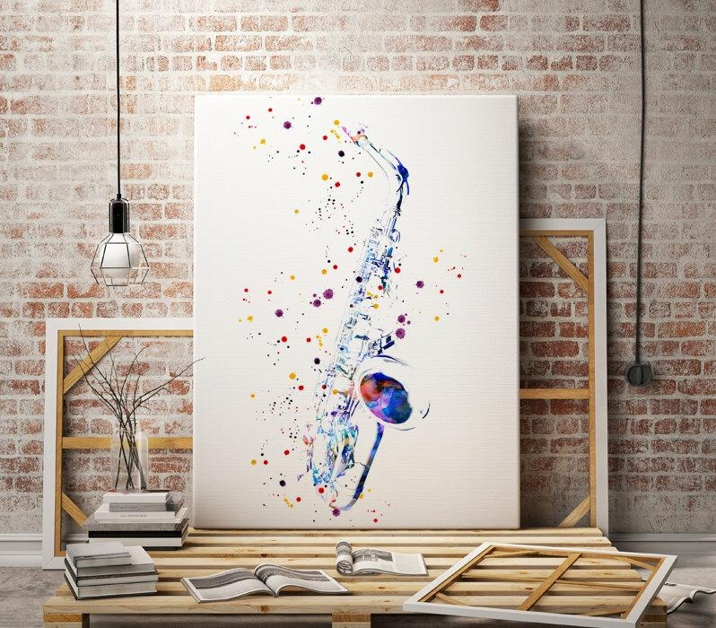 Saxophone – Sax – Jazz Music – Watercolor Art Print – Abstract Pertaining To Abstract Music Wall Art (Image 16 of 20)