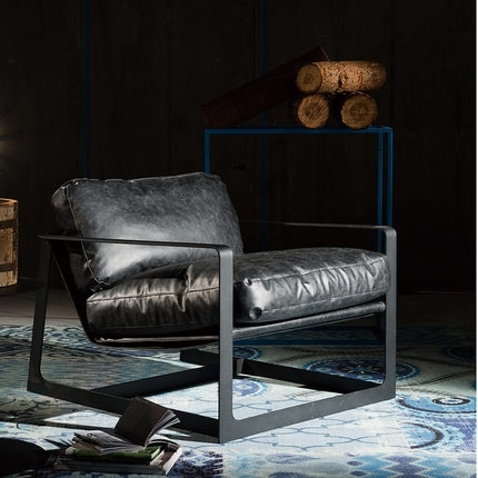 Scandinavian Designer Sofa Chair Living Room Single Iron Casual Throughout Casual Sofas And Chairs (Image 10 of 10)