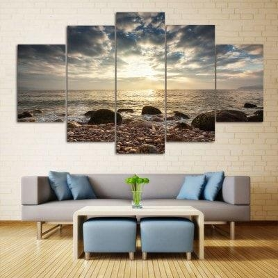 Sea Stone Beach Print Wall Art Split Canvas Paintings 1Pc:10*24 With Regard To Canvas Wall Art Of Philippines (Image 16 of 20)
