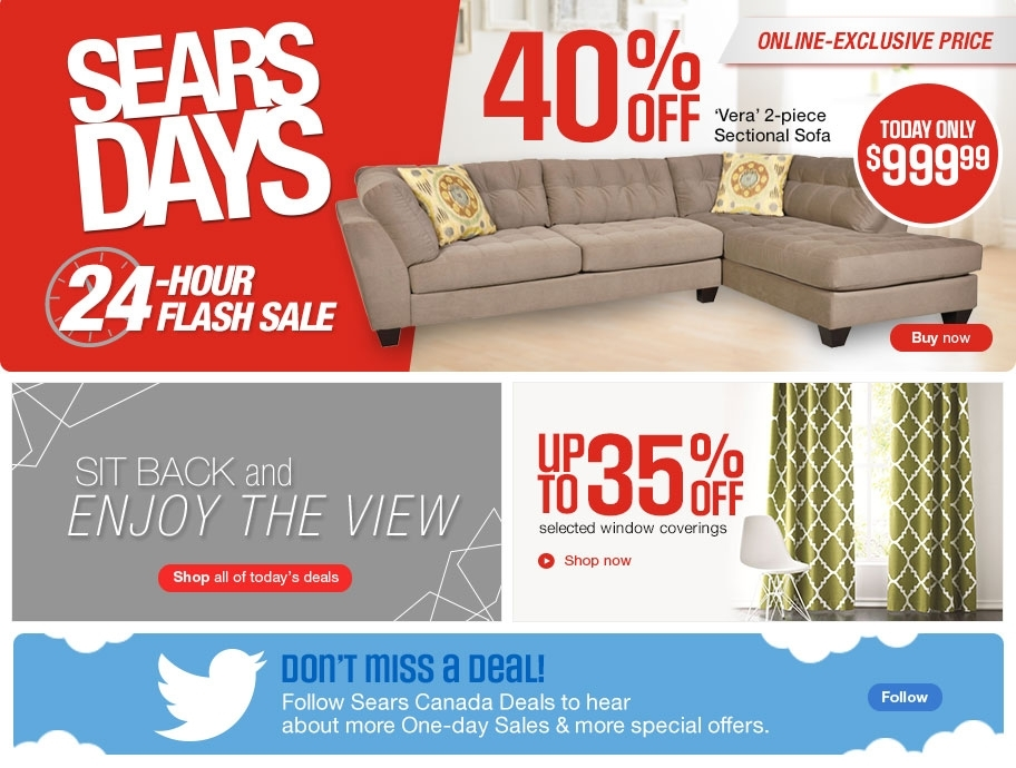 Sears Days Canada 24 Hour Flash Sale: Save 40% Off Verta 2 Piece Throughout Sears Sectional Sofas (Image 5 of 10)