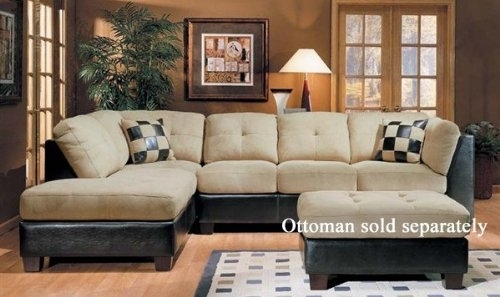 Sectional Sofa Couch Chaise Beige Microfiber Dark Brown Bycast Regarding Beige Sectional Sofas (Image 7 of 10)