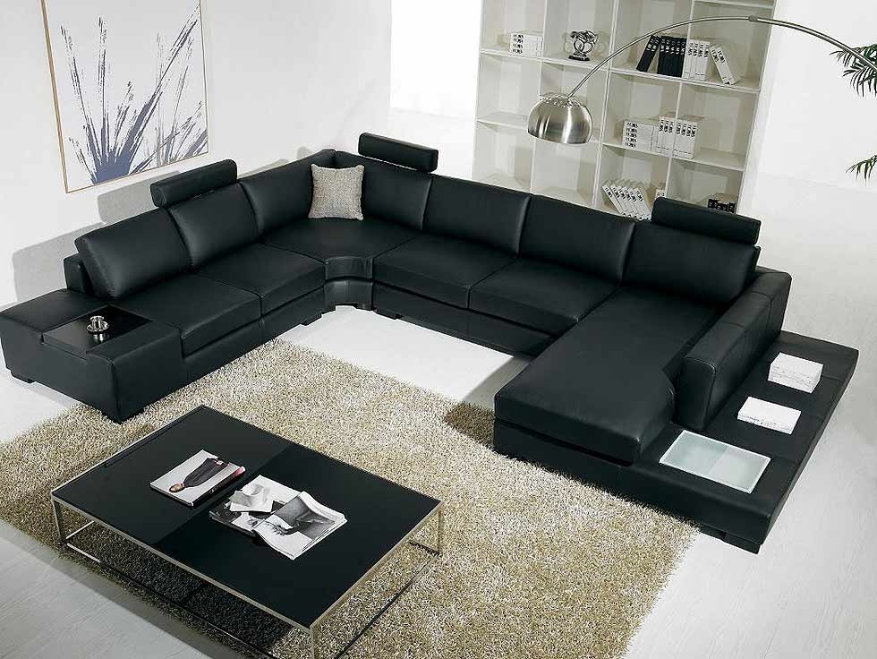 Sectional Sofa Design: Black Leather Sectional Sofa With Best Inside U Shaped Leather Sectional Sofas (View 10 of 10)