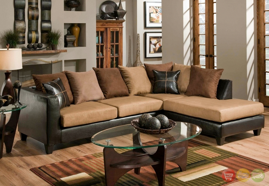 Sectional Sofa Design: Excellent Choosen Microsuede Sectional Sofa Pertaining To Leather And Suede Sectional Sofas (Image 5 of 10)