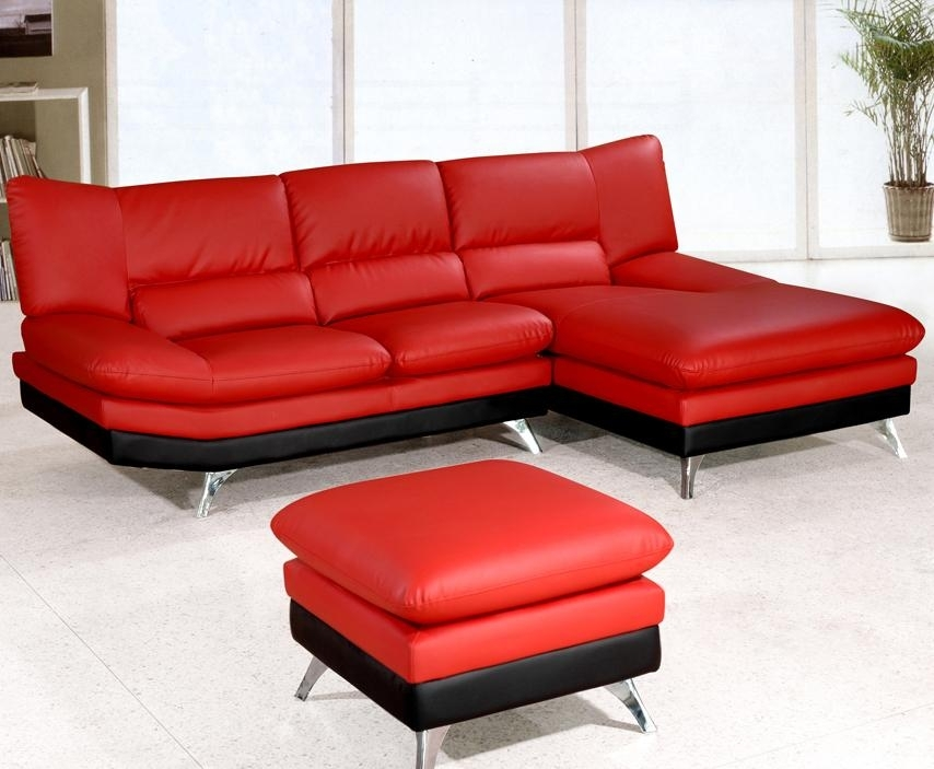 Sectional Sofa Design: Interesting Leather Sectional Sofa With In Red Leather Sectional Sofas With Ottoman (Image 10 of 10)