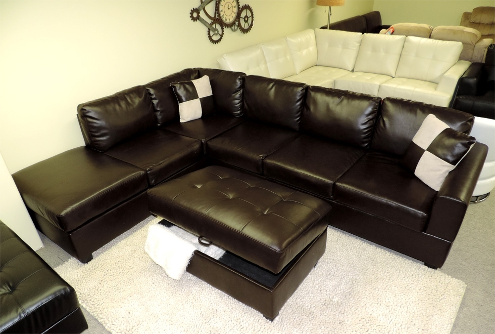 Sectional Sofa Design: Interesting Leather Sectional Sofa With Throughout Leather Sectional Sofas With Ottoman (Image 8 of 10)