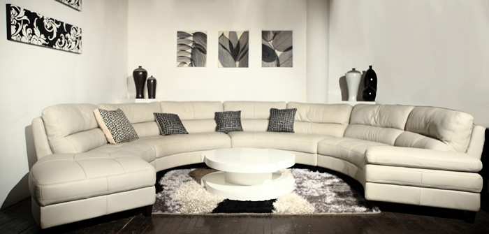 Sectional Sofa Design: Simple Curved Leather Sectional Sofa Curved Within Circular Sectional Sofas (Image 6 of 10)