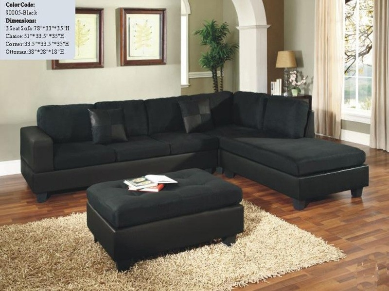 Sectional Sofa Design: Wonderful Black Microfiber Sectional Sofa Within Black Sectional Sofas (Image 8 of 10)