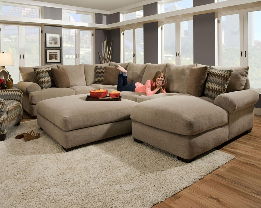 Sectional Sofa: Extra Ordinary Sectional Sofa With Oversized Ottoman With Couches With Large Ottoman (Image 8 of 10)