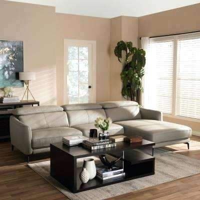 Sectional Sofa For Formal Living Room 2 Piece Light Grey Leather Throughout Home Depot Sectional Sofas (Image 8 of 10)