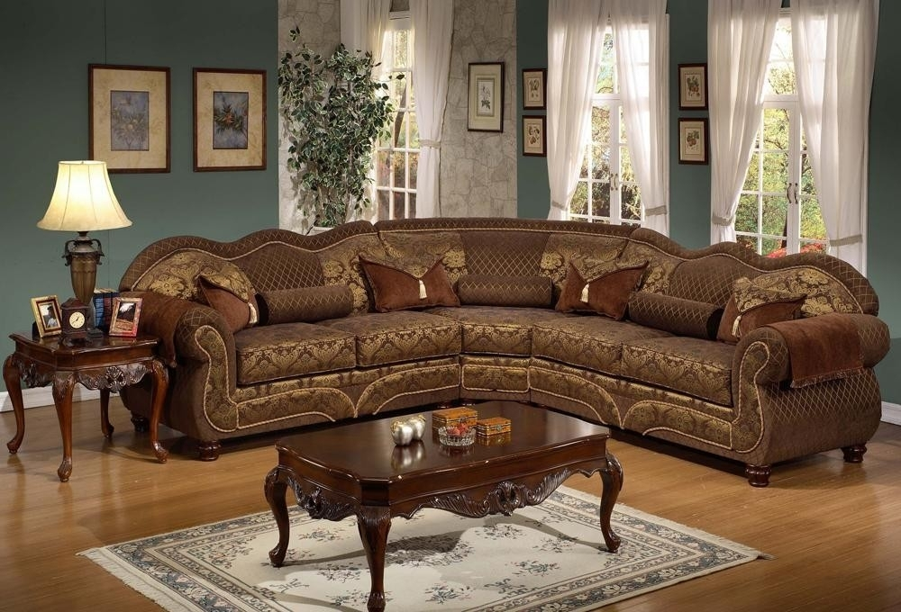 Sectional Sofas | Dolores Traditional Style Sectional Sofa Brown Regarding Elegant Sectional Sofas (Image 9 of 10)