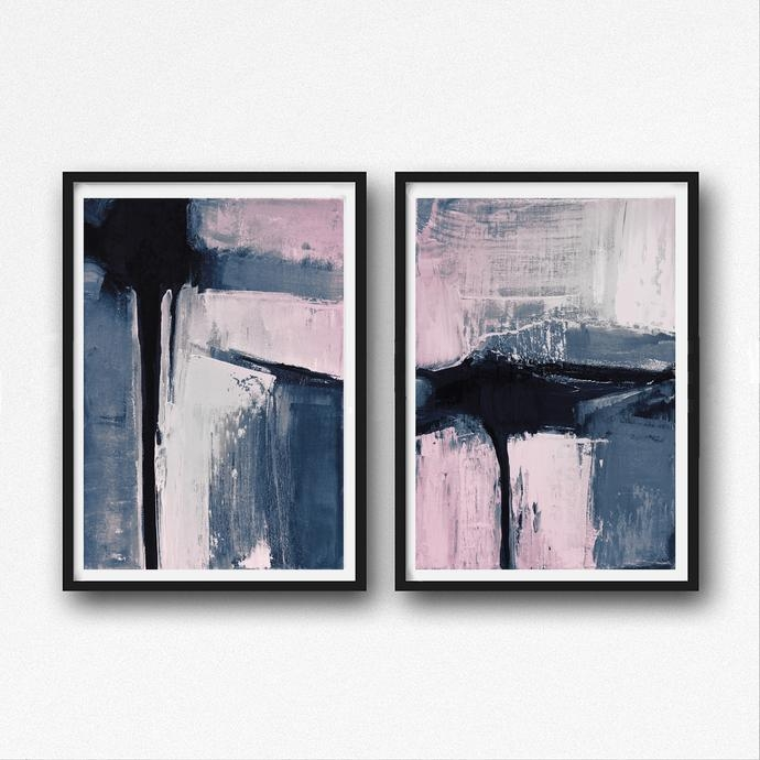 Set Of 2 Prints, Abstract Art Prints, Large Wallsemelart On Zibbet Within Printable Abstract Wall Art (View 17 of 20)
