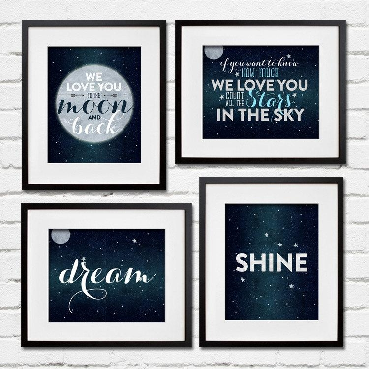 Set Of 4 Stars And Moon Wall Art – Dream, Shine Project Cottage For Navy Canvas Wall Art (View 8 of 20)