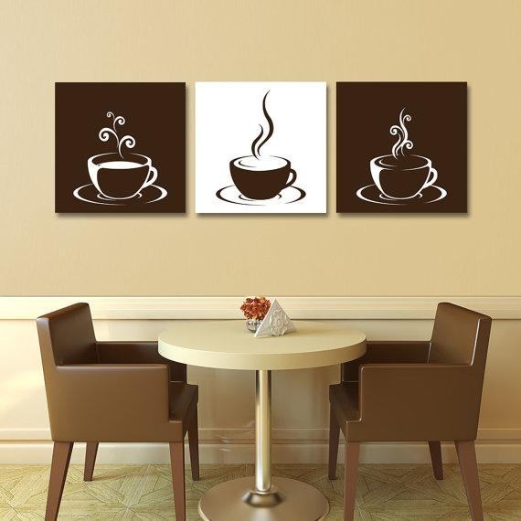 Set Of Three (3) Gallery Wrapped Canvases – Coffee Cup Design With Coffee Canvas Wall Art (Image 17 of 20)