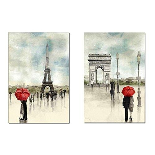 "Set Of Two Romantic Paris, Eiffel Tower/arc De Triomphe ""Lovers In Intended For Canvas Wall Art Of Paris (Image 14 of 20)"