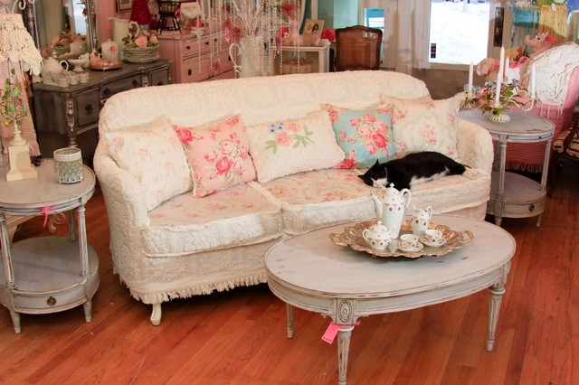Shabby Chic Sofa Slipcovered With Vintage Chenille Bedspreads And Throughout Shabby Chic Sofas (Image 7 of 10)