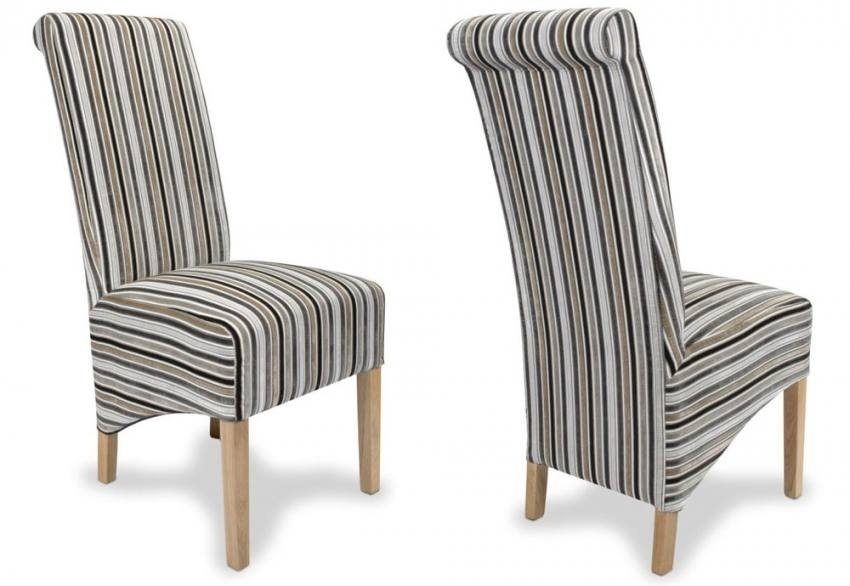 Shankar – Krista Jupiter Dining Chairs – Natural Oak Legs – Stripe Throughout Striped Sofas And Chairs (Image 4 of 10)