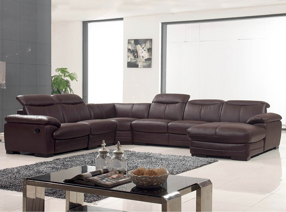 Shaped Sectional Sofa W/ Recliner Ef 12146 Inside Reclining U Shaped Sectionals (Image 5 of 10)