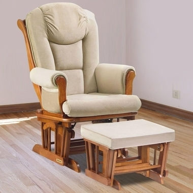 Shermag Glider & Ottoman Set In Chestnut With Beige Oatmeal With Gliders With Ottoman (View 3 of 10)
