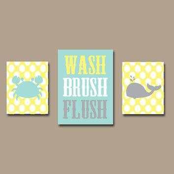 Shop Gray And Yellow Bathroom Wall Art On Wanelo Intended For Bathroom Canvas Wall Art (View 9 of 20)