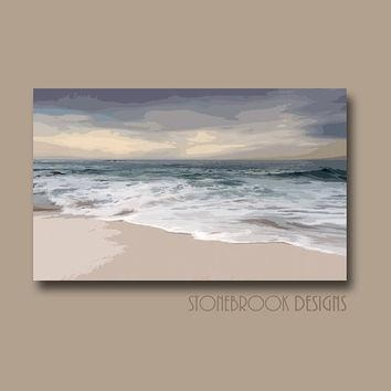 Shop Large Abstract Ocean Canvas Art On Wanelo Throughout Abstract Horizon Wall Art (Image 18 of 20)