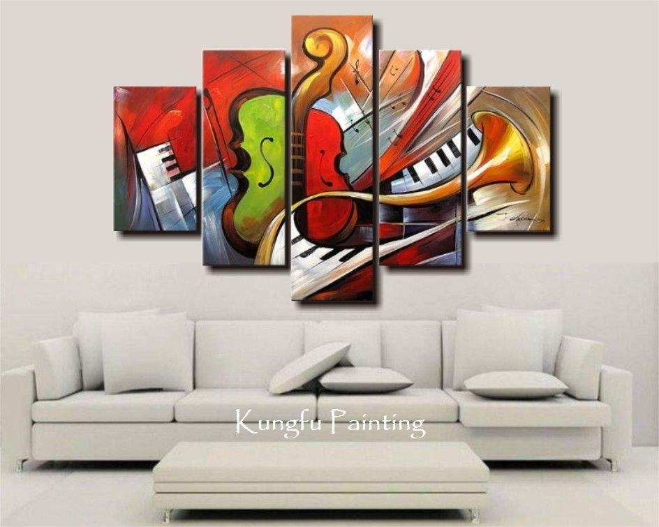 Shop Paintings Online, Holiday Sale 100% Hand Painted Discount Inside Abstract Music Wall Art (Image 17 of 20)
